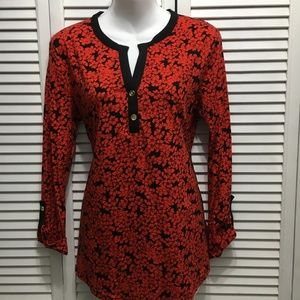 Jones New York red black size Large floral tunic